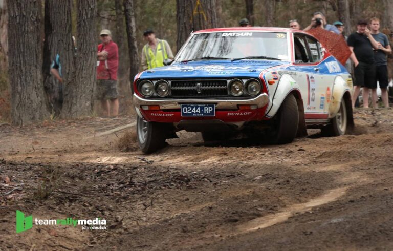 Darryn Snooks and Michael Foreshew, Datsun Violet, 2017 Alpine Rally