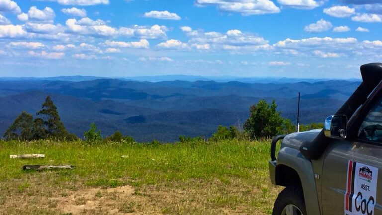 View of blue mountains in the high country