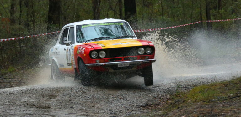 Nathan Quinn and Ray WInwood Smith, winners of the 2019 Alpine Rally of East Gippsland