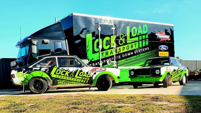 Lock & Load Transport rally cars and transporter truck.