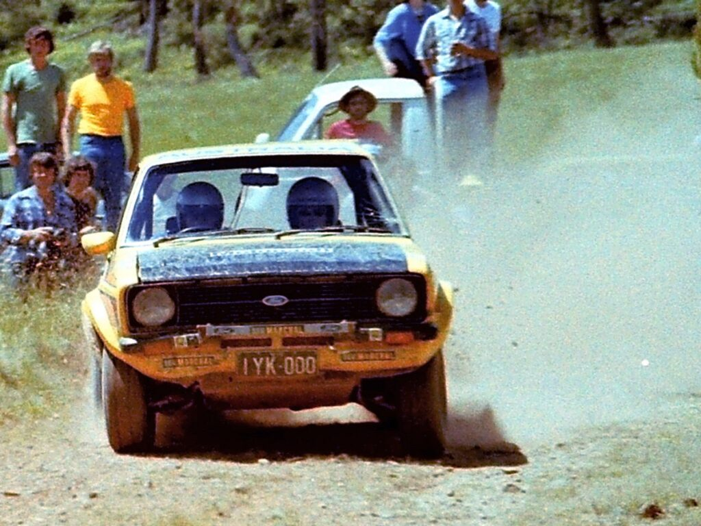 Works team Escort competing in the 1980 Alpine Rally