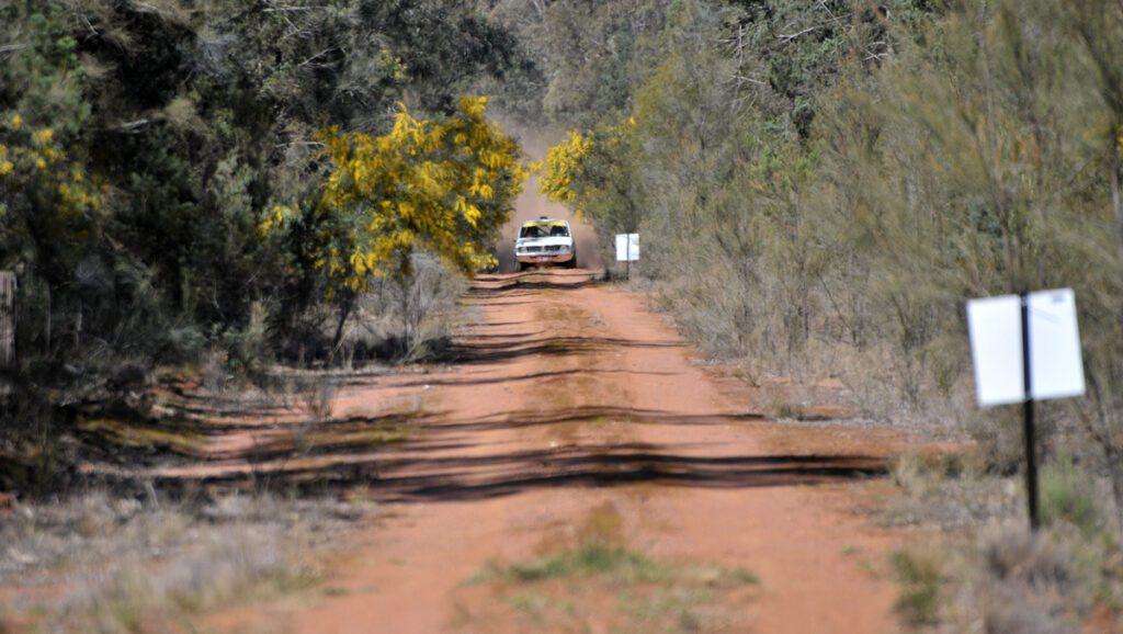 Rally Car approaching a hazard
